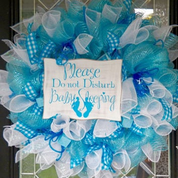 It's a Boy Welcoming Wreath, Baby Gift, Baby Shower Decoration, Baby Boy Gift, Hospital Door Hanger