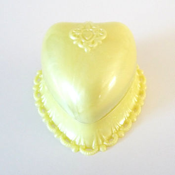 Vintage Yellow Heart Ring Box Pearlescent Celluloid Ring Box Display Presentation