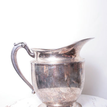 Vintage Great Gatsby Esque Silver Plated Large Pitcher to Use for Water or Cocktails or as a Vase