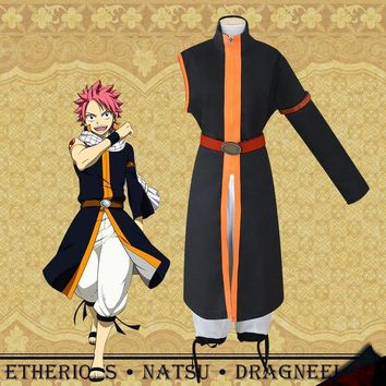 Anime Fairy Tail Etherious Natsu Dragneel Cosplay Costume Full Set Uniform ( Coat + Pants + Belt + Armband + Wristband + Scarf )