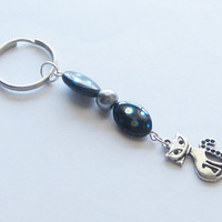 Peacock Blue Spotted Lampwork Beaded Keychain by WhispySnowAngel