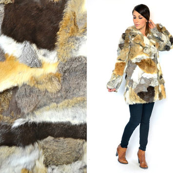 vintage 1970s oversized RABBIT FUR bohemian glam rocker calico PATCHWORK jacket coat, extra small-medium