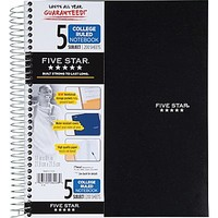 Mead Five Star Wirebound Notebook, 5 Subject, College Ruled, 200 Count, Black (72081) | Staples