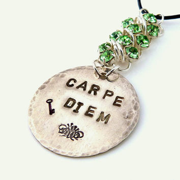 Carpe Diem - Hand Stamped Sterling Silver Necklace