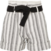 Vanessa Bruno - Ezed belted striped cotton-canvas shorts