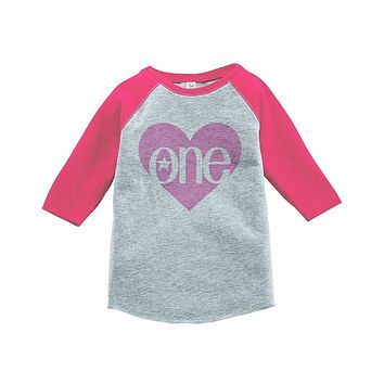 Custom Party Shop Girls' First Birthday One Vintage Baseball Tee 2T Grey and Pink