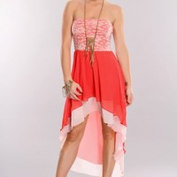 Coral Multi Strapless Lace Overlay High Low Hem Dress