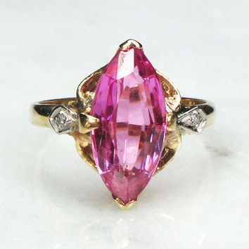 Retro Sapphire Ring 14k Created Pink Sapphire Ring with Diamonds Marquise Cut Sapphire Ring Navette Cut Circa 1940's Size 5.5