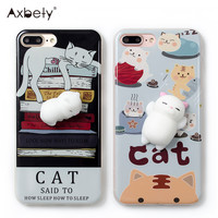 Cartoon Squishy 3D Case For iPhone 6 6s Case Cute cats claw Kitty Soft Silicone Case For iPhone 7 7Plus TPU Couple phone Cover