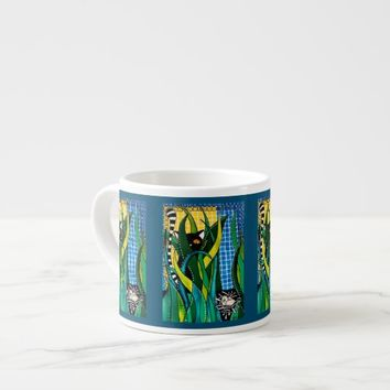 Hunter in Camouflage Whimsical Cat Art Espresso Cup