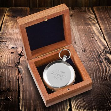 High Polish Silver Keepsake Compass with Wooden Box