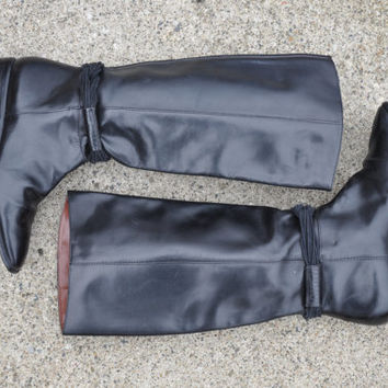 80s tall black leather boots / vintage 1980s black riding boots / Winter Ride boots