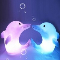 Color Changes Romatic Dolphin Christmas LED Night Light Lamp Party Decor Wedding