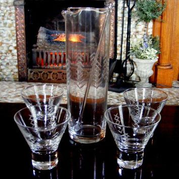 Vintage Cocktail Pitcher and Glassware Set by GSArcheologist