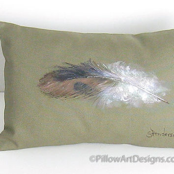 Decorative Pillow Hand Painted Sparrow Bird Feather