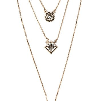 Layered Ornate Pendant Necklace