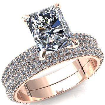 Elley Radiant Moissanite 4 Claw Prong Diamond Accent Engagement Ring