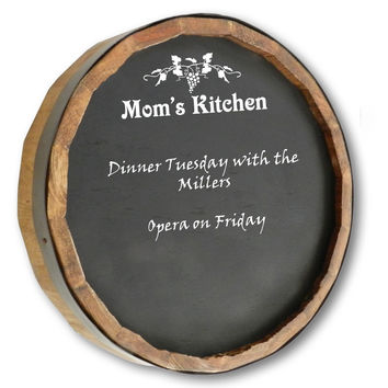 Mom's Kitchen Quarter Barrel Chalkboard Sign