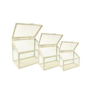 """Set of 3 Antique-White Metal and Glass Paneled Nesting Outdoor Greenhouse Terrariums 8.25""""-12"""""""