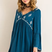 Solid V-Neck Button Down Babydoll Dress