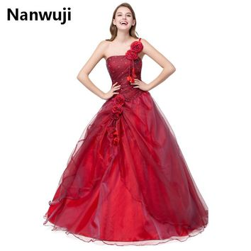 Red Strapless Floor Length Quinceanera Dress with Hand Made Applique