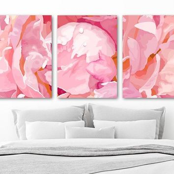 Pink Peonies Flower Wall Art, Floral Watercolor Decor, Zoom Flower Peony Girl Bedroom Wall Decor, CANVAS or Prints, Above Bed Decor Set of 3