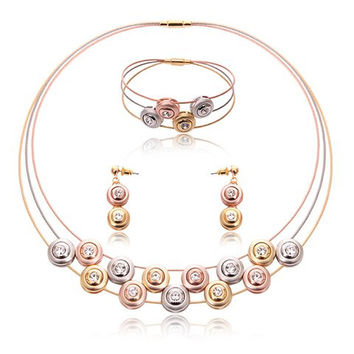 Rhinestone Button Cell Necklace Bracelet and Earrings