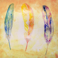 Feathers watercolor Painting Printable Fine art print, Instant download, handpainted wall art, home decor, 12x12