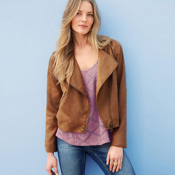 Brown Oblique Zipper Long Sleeve Tassle Fringed Suede Jacket