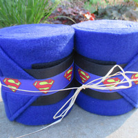 Set of 2 Polo Wraps for Horses- Royal Blue Fleece with Superman Ribbon Accent