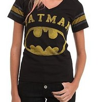 DC Comics Batman Logo Varsity V-Neck Girls T-Shirt - 185291