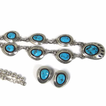 Vintage Navajo Sterling Turquoise Necklace Earrings Set Teddy Goodluck