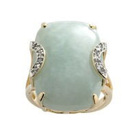 18k Gold Over Silver Jade & Diamond Accent Ring (Green)