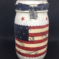 Patriotic Mason Jar Votive Candle Holder