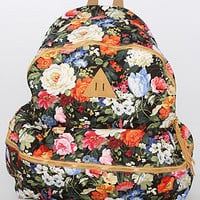 The Floral Backpack in Black