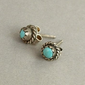 Old Pawn Vintage Native American NAVAJO Turquoise Stud Earrings Earring Studs STERLING Silver Sleeping Beauty c.1950s