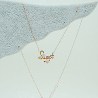 Rose gold Sweet necklace with rhinestone,Charm necklace,Tiny necklace,Dainty necklace,Everyday necklace,her necklace,gift for her