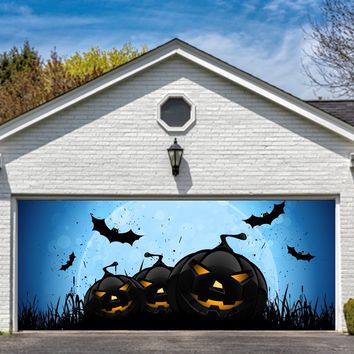 Halloween Garage Door Cover Decor Pumpkin Night Bat Billboard Outside Decoration for House