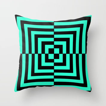 GRAPHIC GRID DIZZY SWIRL ABSTRACT DESIGN (BLACK AND GREEN AQUA) SERIES 5 OF 6 Throw Pillow by AEJ Design