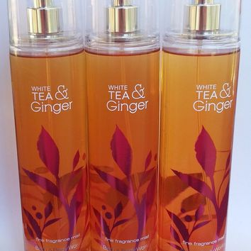 3 PACK Bath & Body Works WHITE TEA & GINGER Fragrance Mist 8 oz