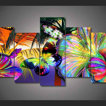 Butterfly Color Splash 5-Piece Wall Art Canvas