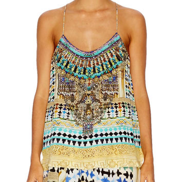 Camilla T-Back Shoestring Strap Top in Flight of the Arch