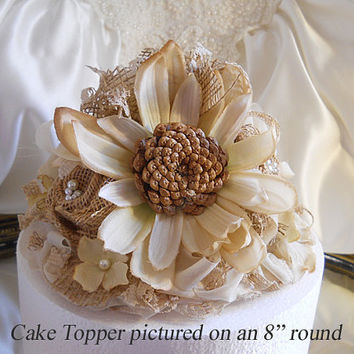 Rustic Vintage Style Sunflower Wedding Cake Topper with matching burlap flowers. Vintage lace, fabrics, burlap and natural botanicals.