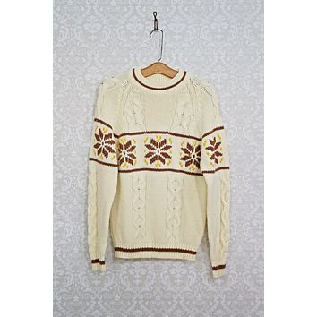 Vintage Snowflake  Cableknit Nordic Sweater