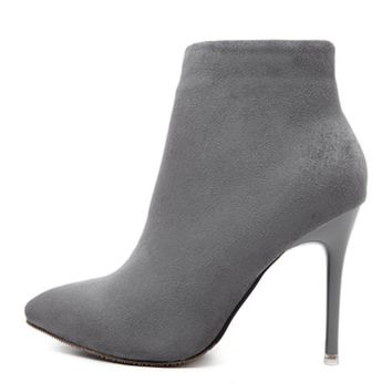 Suede Ankle Boots With Stiletto Heels