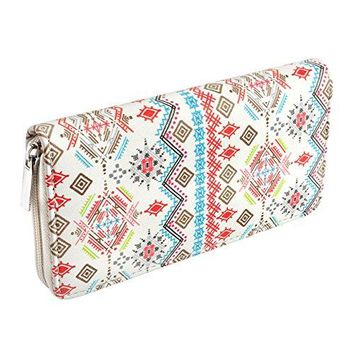 CHIC DIARY Women Wallet PU Leather Long Clutch Purse with Zipper Closure
