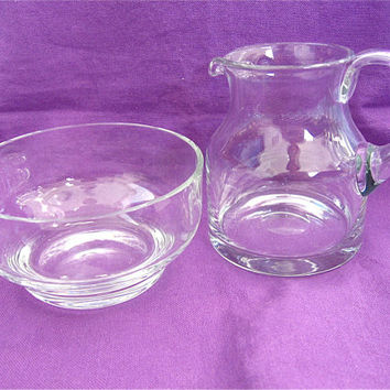 ON SALE was 10.99 Glass Sugar Bowl and Creamer