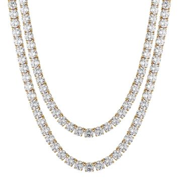 1 Row Tennis Link Necklace 18 Inch Chain 14k Gold Finish  4MM XmasDeal