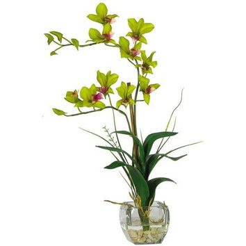 Green Dendrobium w-Glass Vase Silk Flower Arrangement