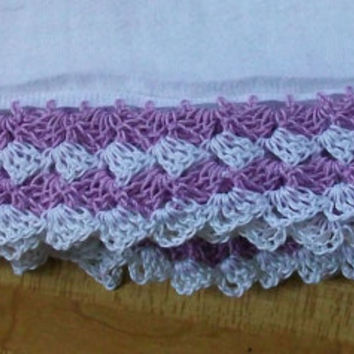 Cotton Tea Cloth with Lilac and White Crochet Edging in 100% Cotton Crochet Thread